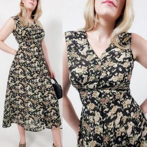 Vintage floral sleeveless midi dress button down
